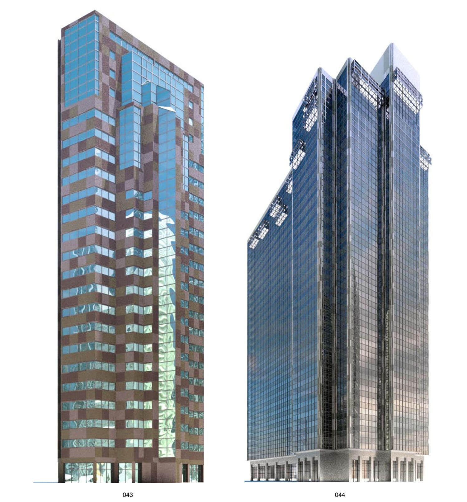 Nhà cao tầng với màu sắc và đường nét đơn giản nhưng mạnh mẽ