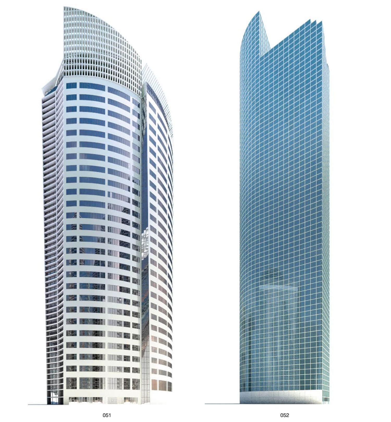 Mẫu nhà cao tầng với phần đỉnh chọc trời được làm cách điệu