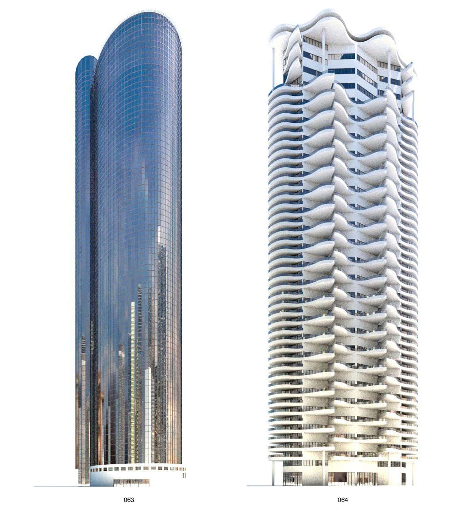 Tòa chung cư, khách sạn cao tầng với ban công hình lượn sóng