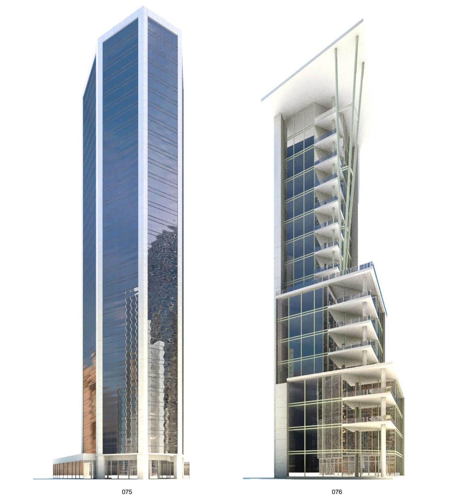 Tòa building hình khối đơn giản và tòa building đường nét phức tạp