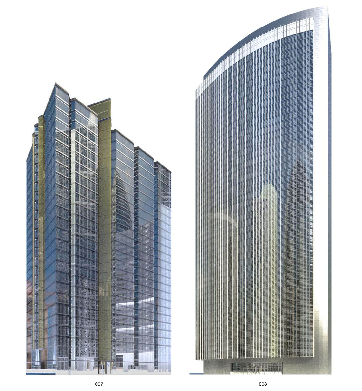 Nhà cao tầng có đường nét vuông vức và dạng cong mềm mại