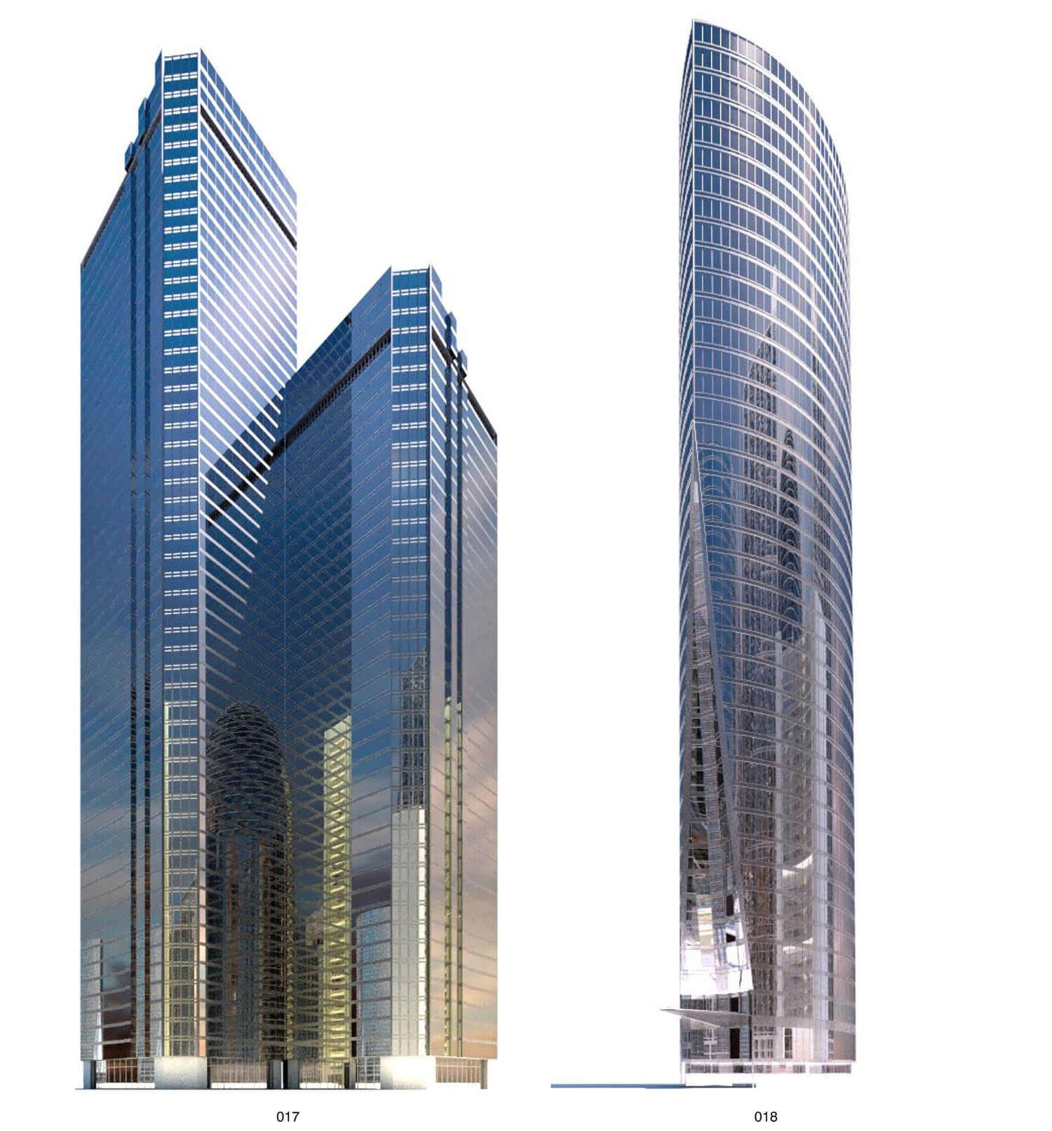 Nhà cao tầng như khối gương kính mọc từ dưới đất lên