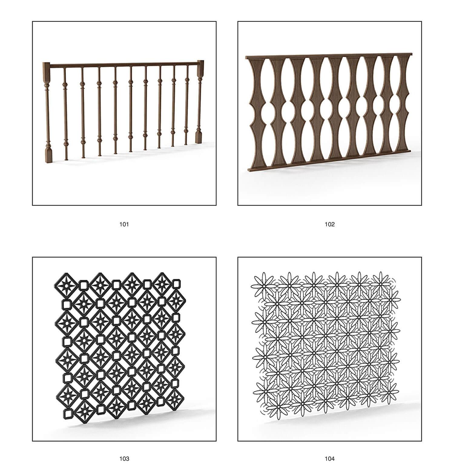 Các loại lan can bằng con tiện gỗ, hoa sắt cửa sổ trang trí