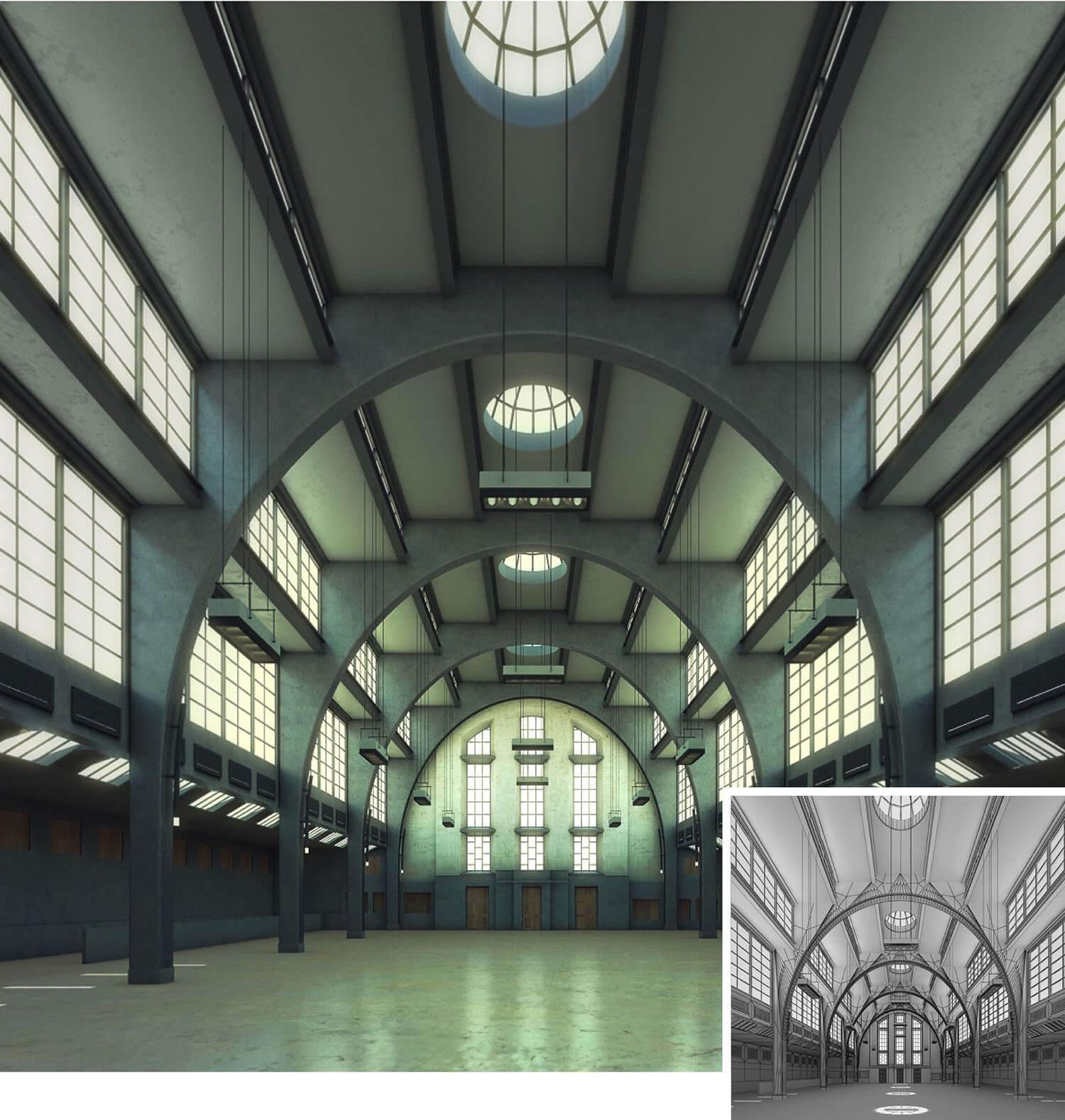 Không gian đại sảnh đẹp nhờ bố trí các ô kính tạo sự thu hút