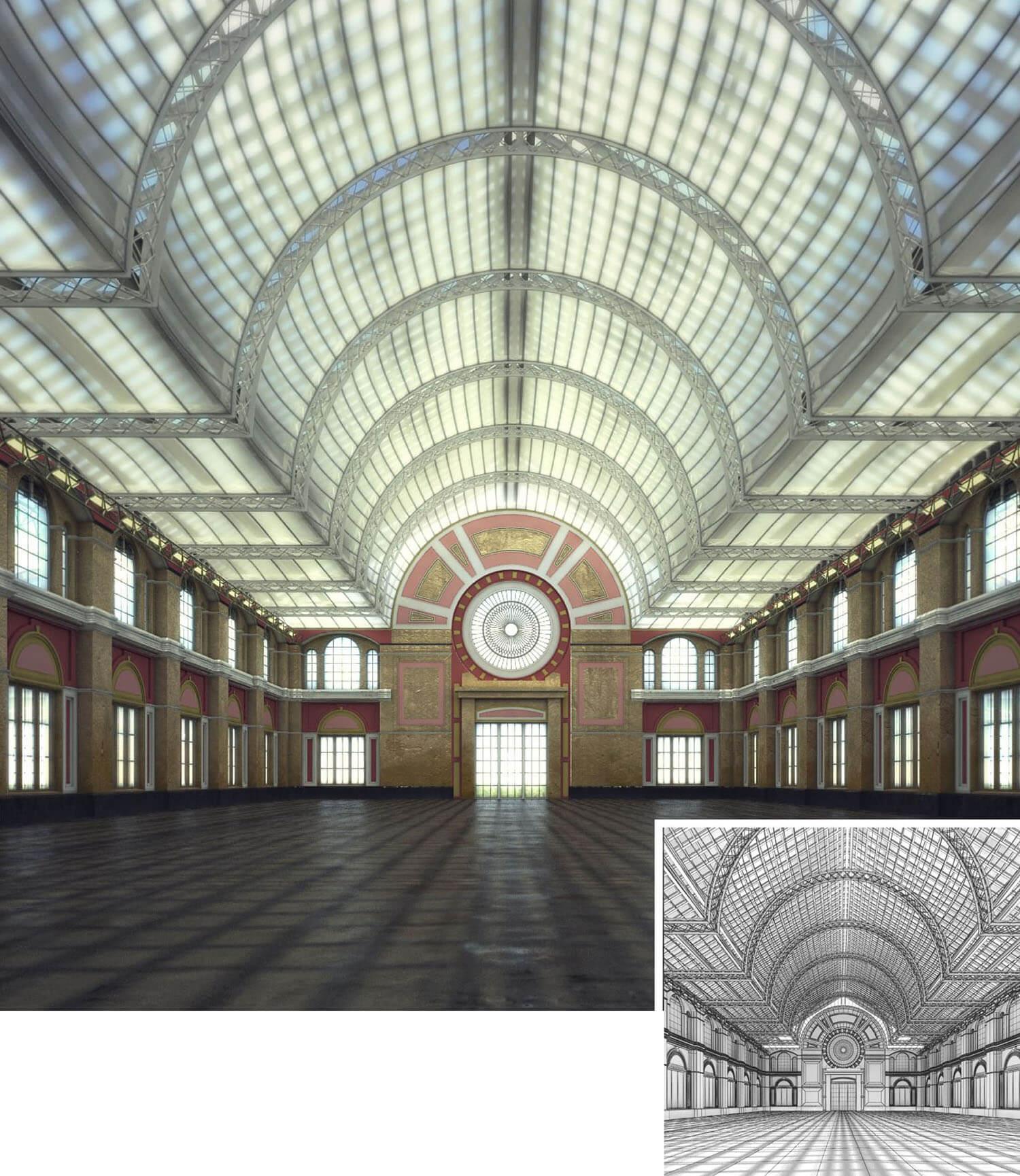 Thiết kế không gian đại sảnh đẹp dạng vòm Italy