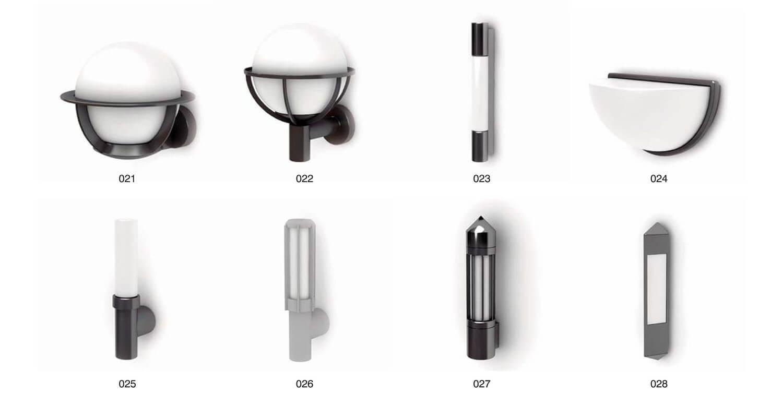 Các loại đèn sân vườn với chất liệu inox, kính