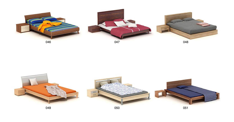 Các bộ giường hiện đại bằng gỗ công nghiệp