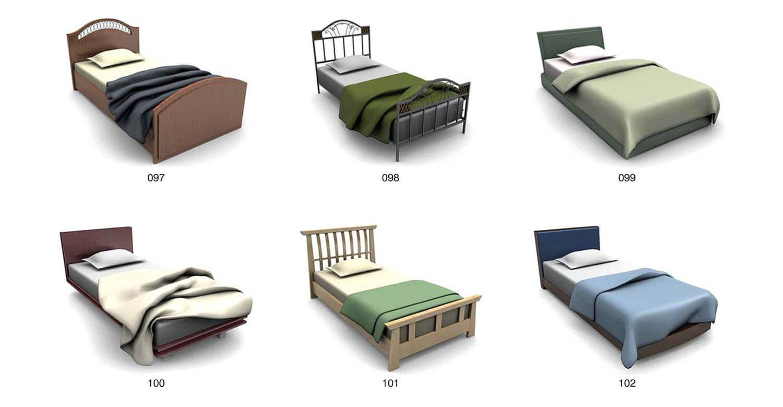 Giường ngủ đơn với chất liệu gỗ và sắt uốn