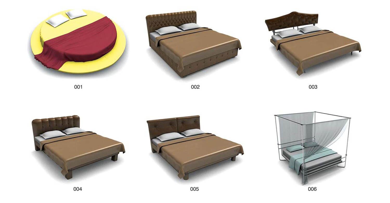 Các loại giường tròn, giường có đầu giường bọc da, giường có khung màn