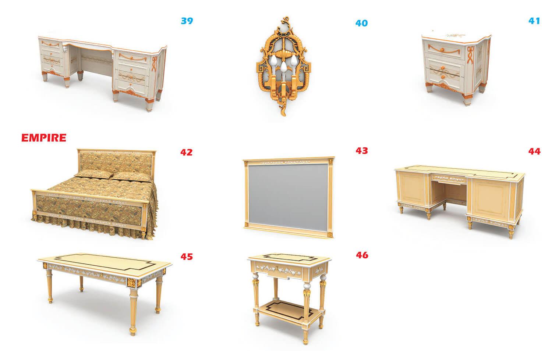 Nội thất cổ điển bàn, đèn ngủ và giường đôi