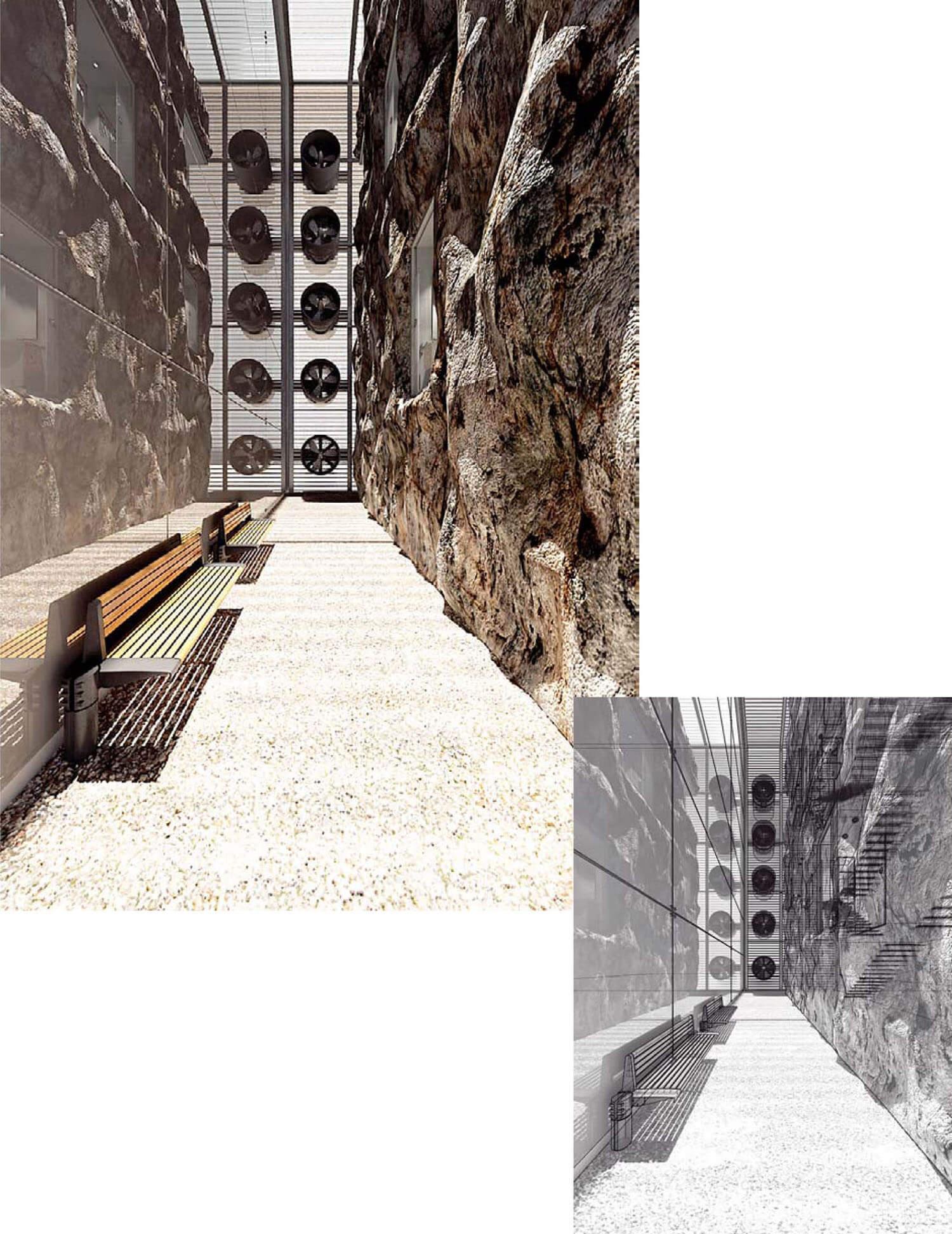 Thiết kế hành lang bằng vách đá thiên nhiên