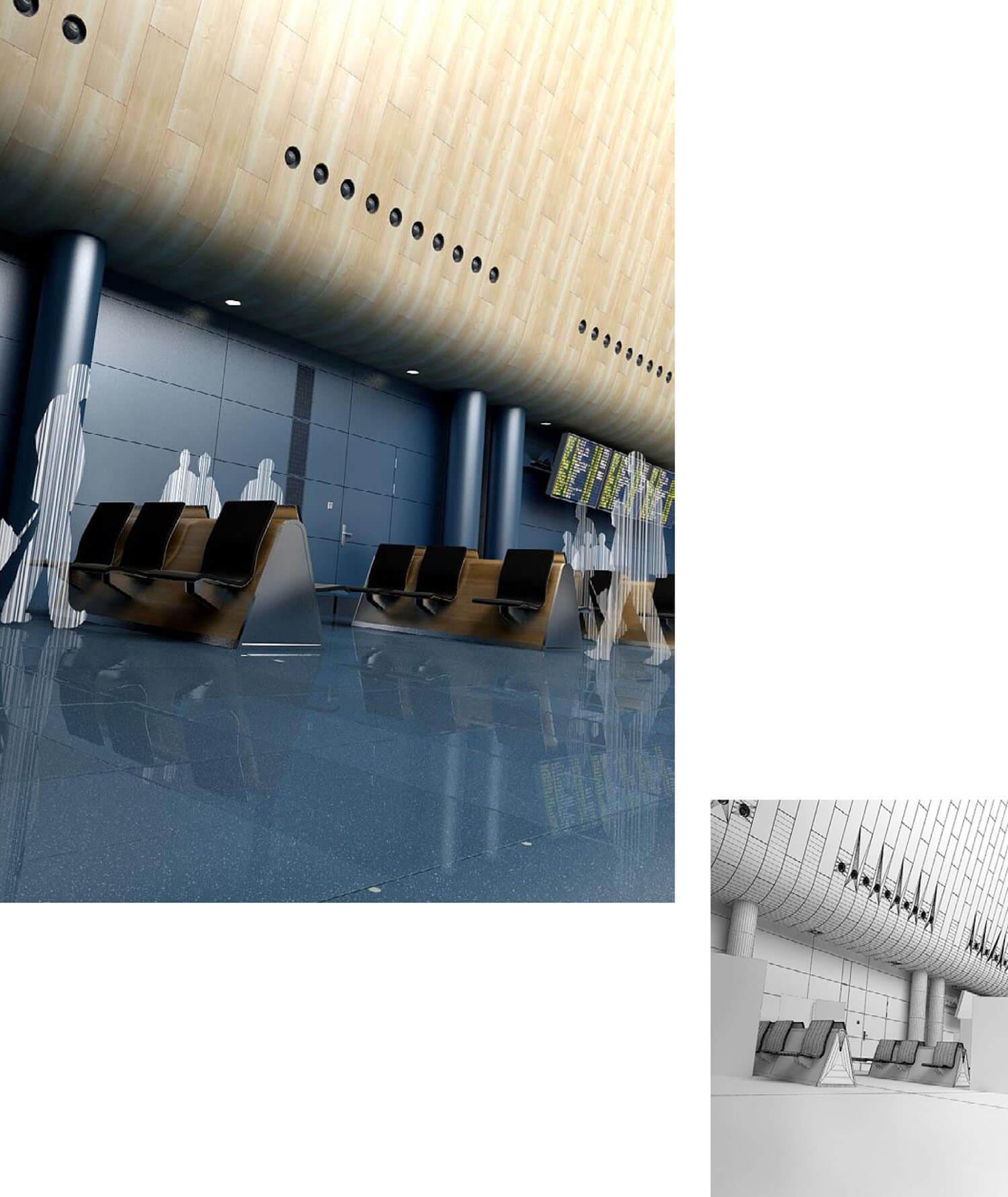 Không gian lối đi sân bay thiết kế với trần gỗ