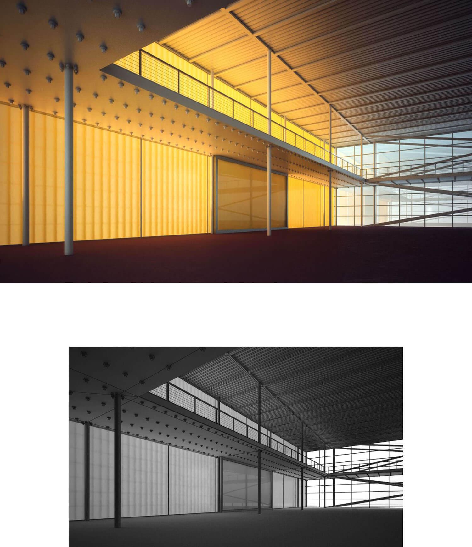 Thiết kế hành lang không gian bằng mái tôn và trụ sắt rất mạnh mẽ và hầm hố