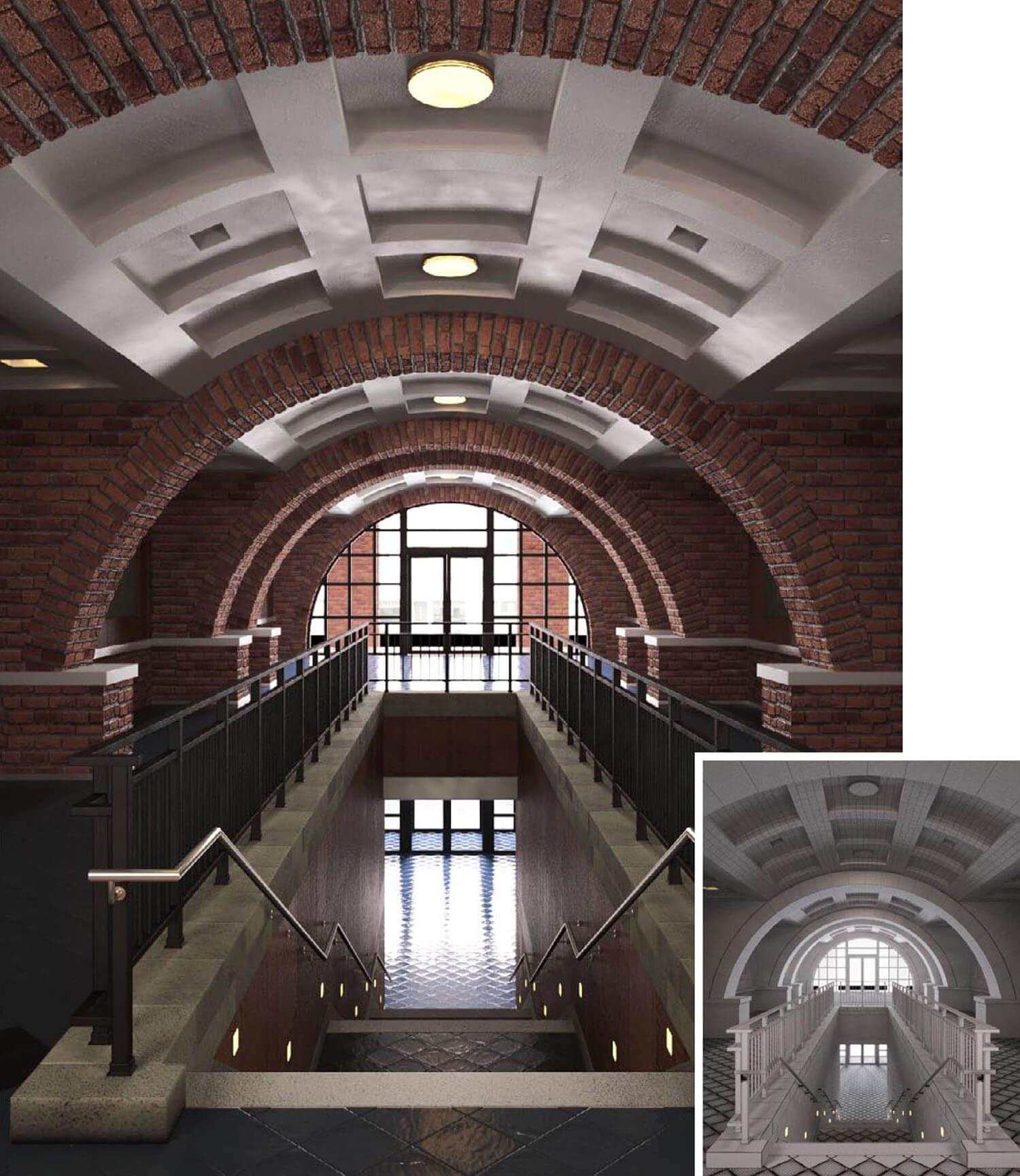 Không gian hành lang cầu thang dạng vòm trang trí bằng gạch