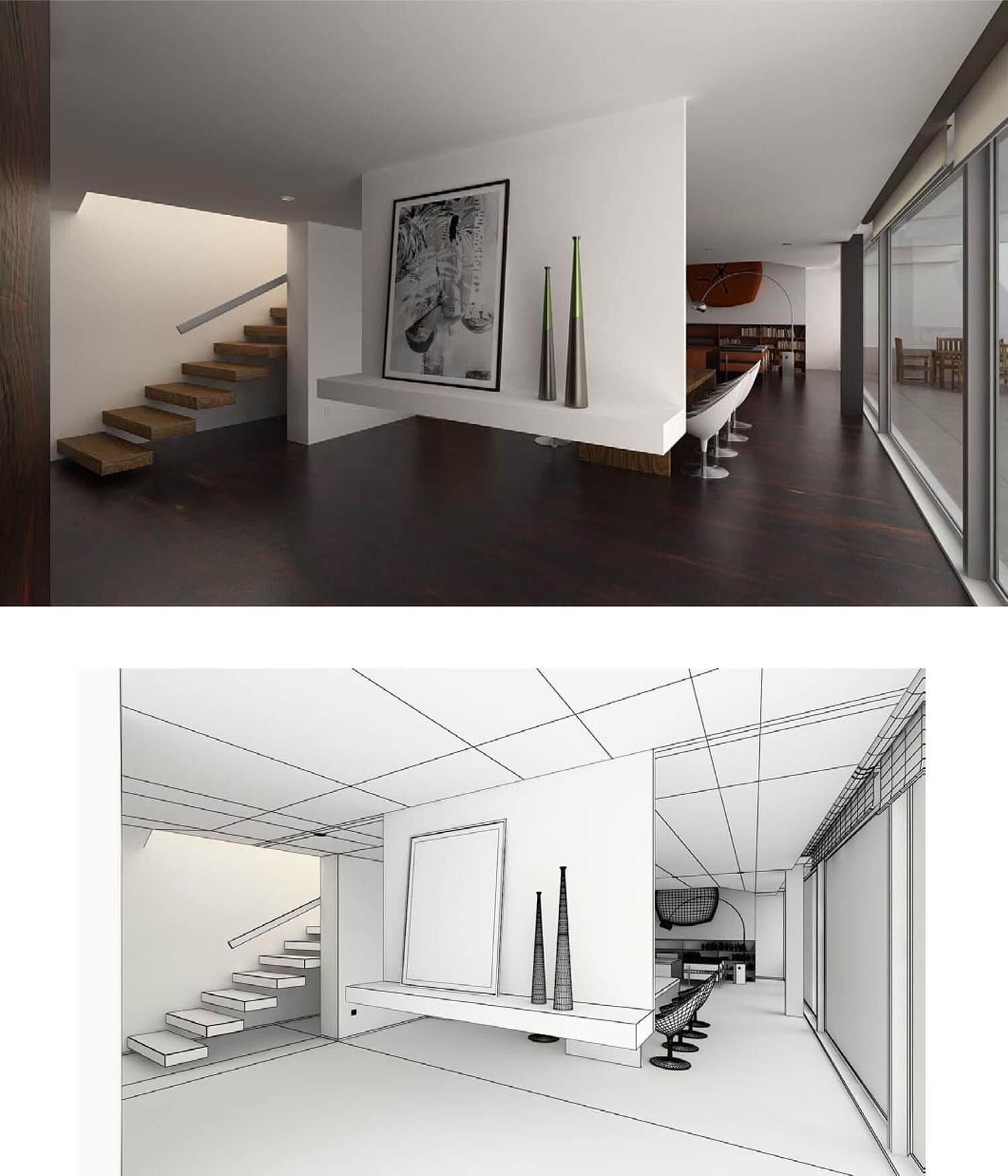 Bậc thang được thiết kế ốp với tường trong không gian cầu thang này