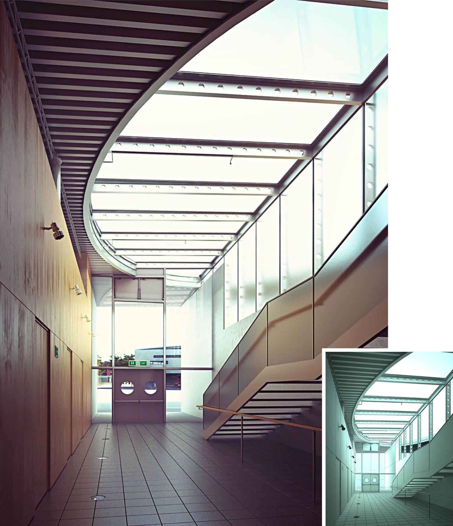 Ánh áng trong không gian cầu thang này thay đổi theo môi trường nhờ trần kính