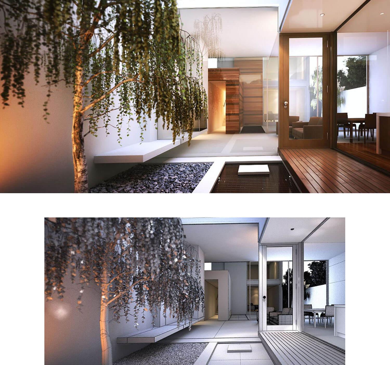Không gian vườn được đưa khéo léo vào nhà với cây trải