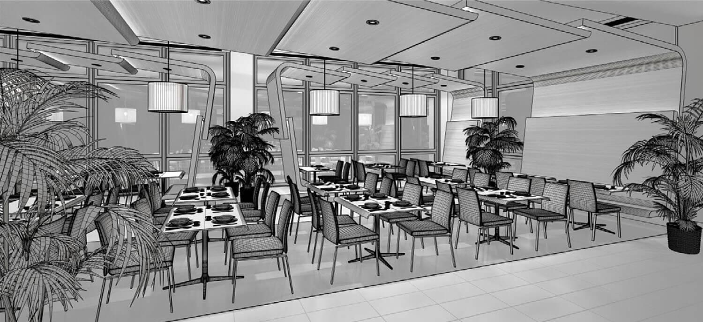 Bản vẽ 3D Thiết kế nhà hàng sử dụng trần và tường gỗ độc đáo