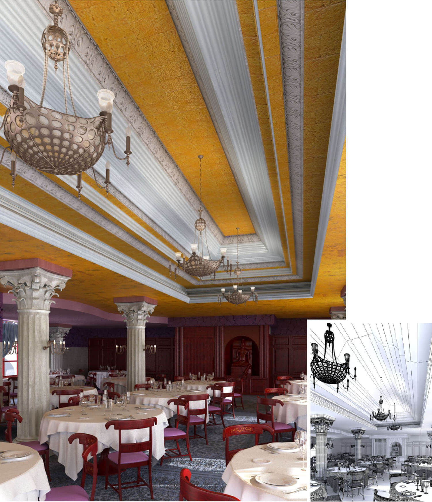 Thiết kế nhà hàng cổ điển với trụ đỡ và trần được trạm chổ kiểu cách