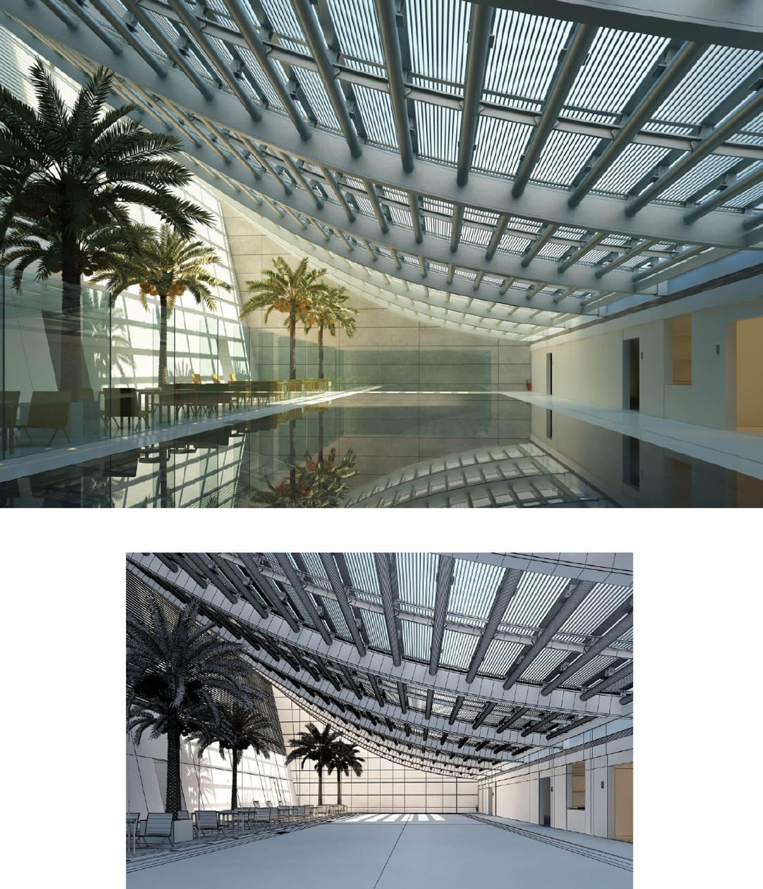 Nội thất nhà hàng được thiết kế cạnh bể bơi cùng phần trần kính uốn lượn