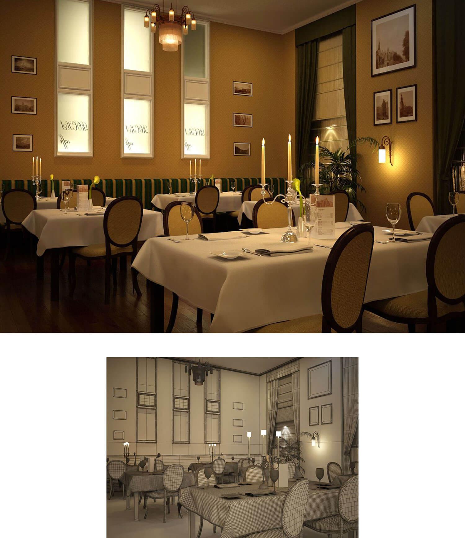Mẫu nội thất nhà hàng với gam màu nâu vàng chủ đạo kết hợp hài hòa cùng đèn chùm và nến