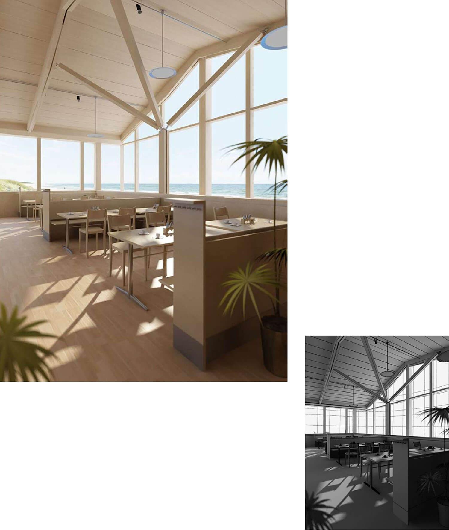 Mẫu quán cafe sử dụng gỗ có tầm nhìn mở thích hợp với không gian rộng