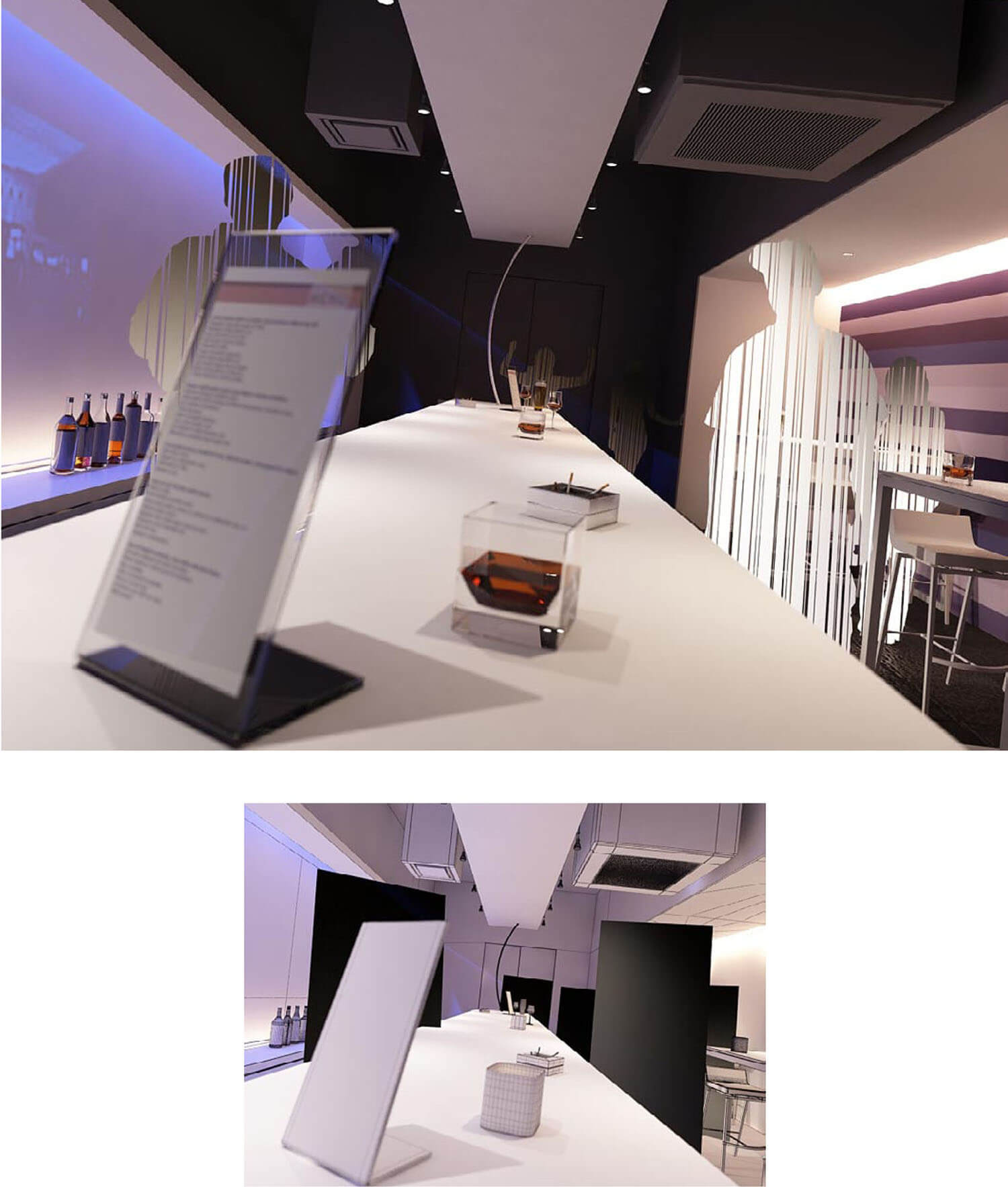 Thiết kế quầy bar với trần thạch cao và đèn bắt mắt