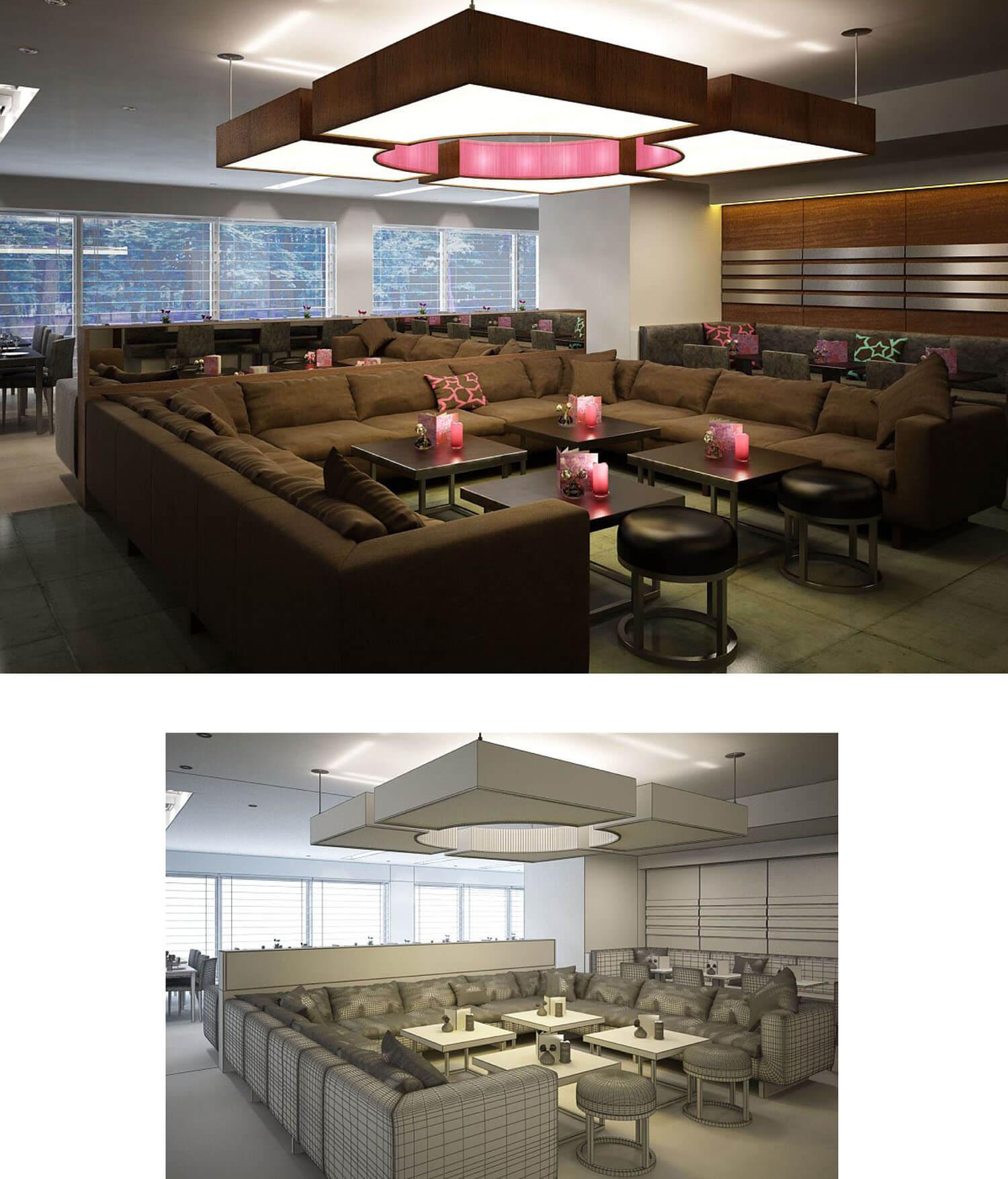 Quán cafe được thiết kế đèn trần lớn đem đến ánh sáng rực rỡ
