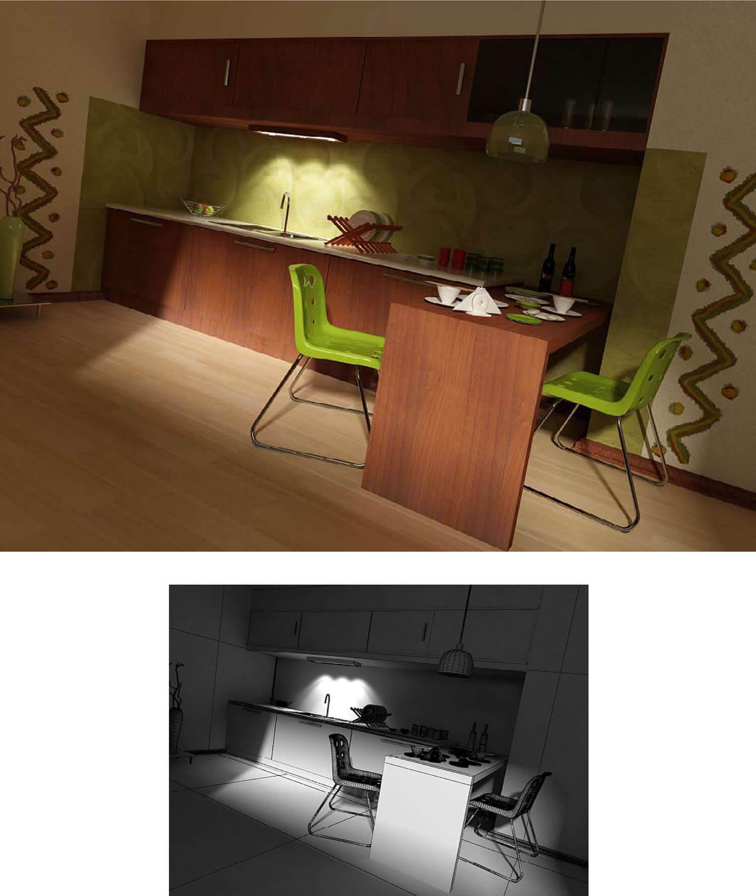 Nội thất phòng bếp - ăn được bài trí bắt mắt bằng giấy dán tường