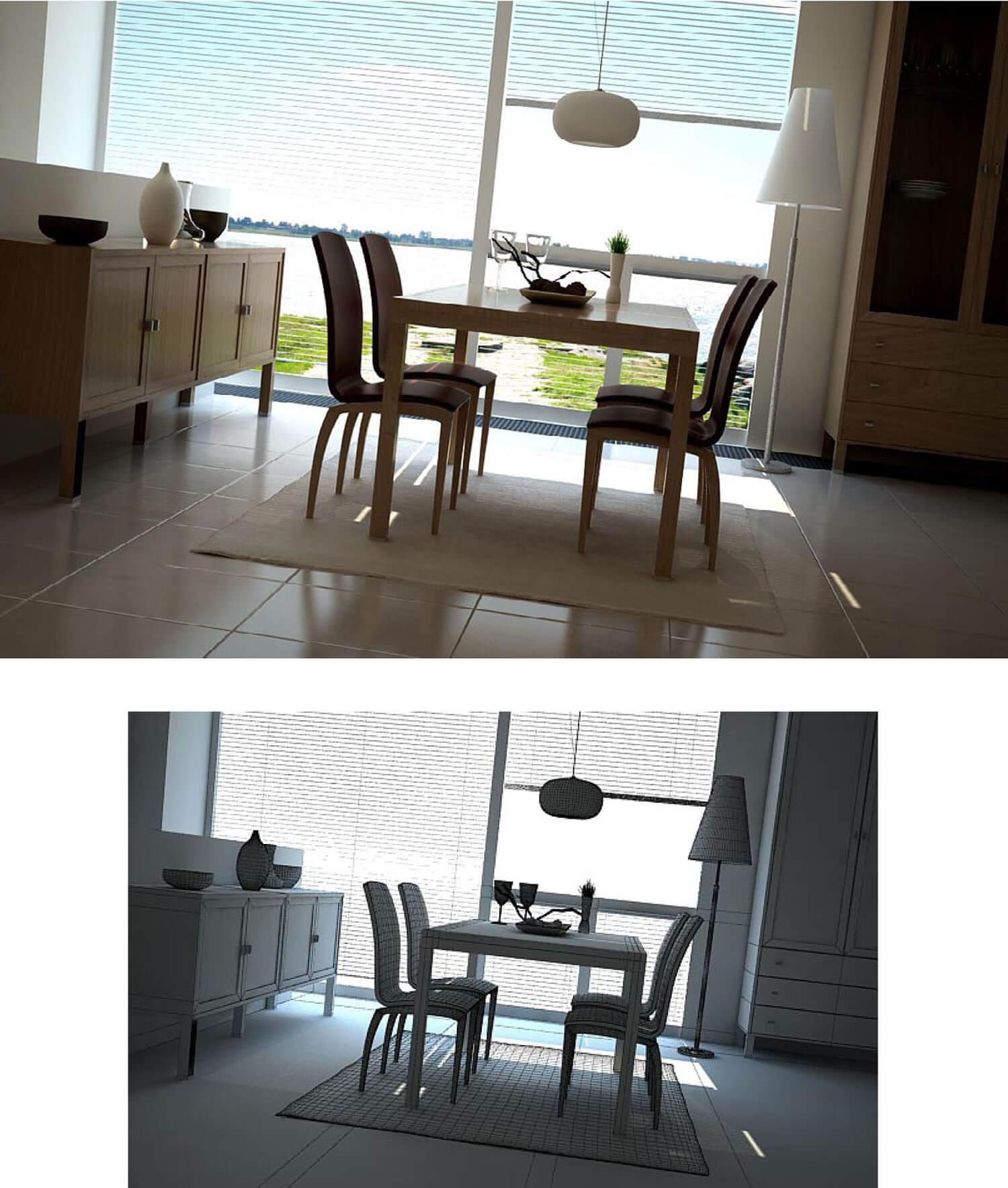 Phòng ăn trở nên sống động hơn với tấm kính lớn