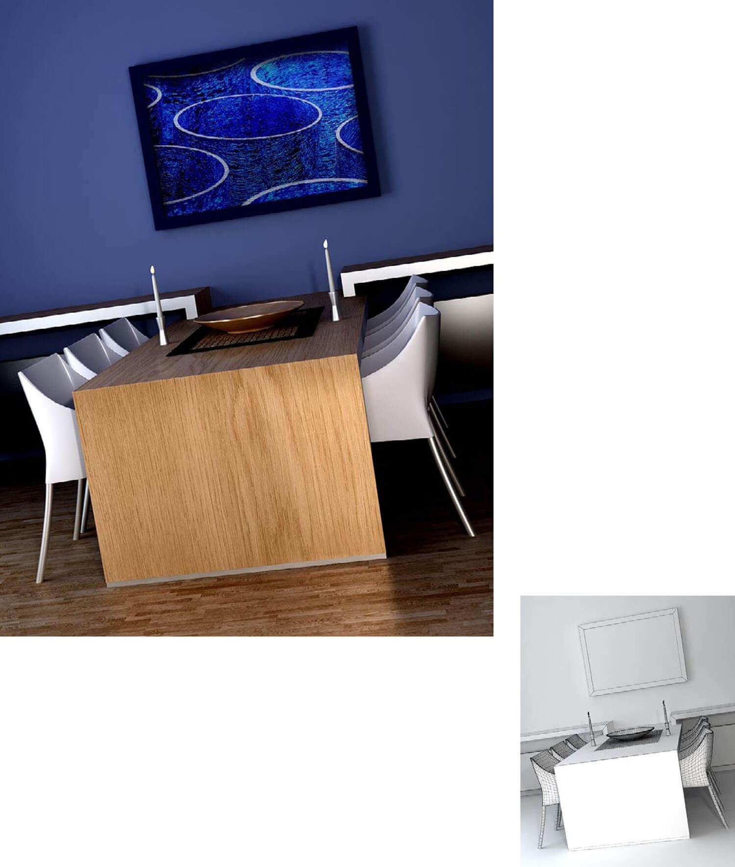 Thiết kế phòng ăn với tường xanh dương cùng tranh nghệ thuật