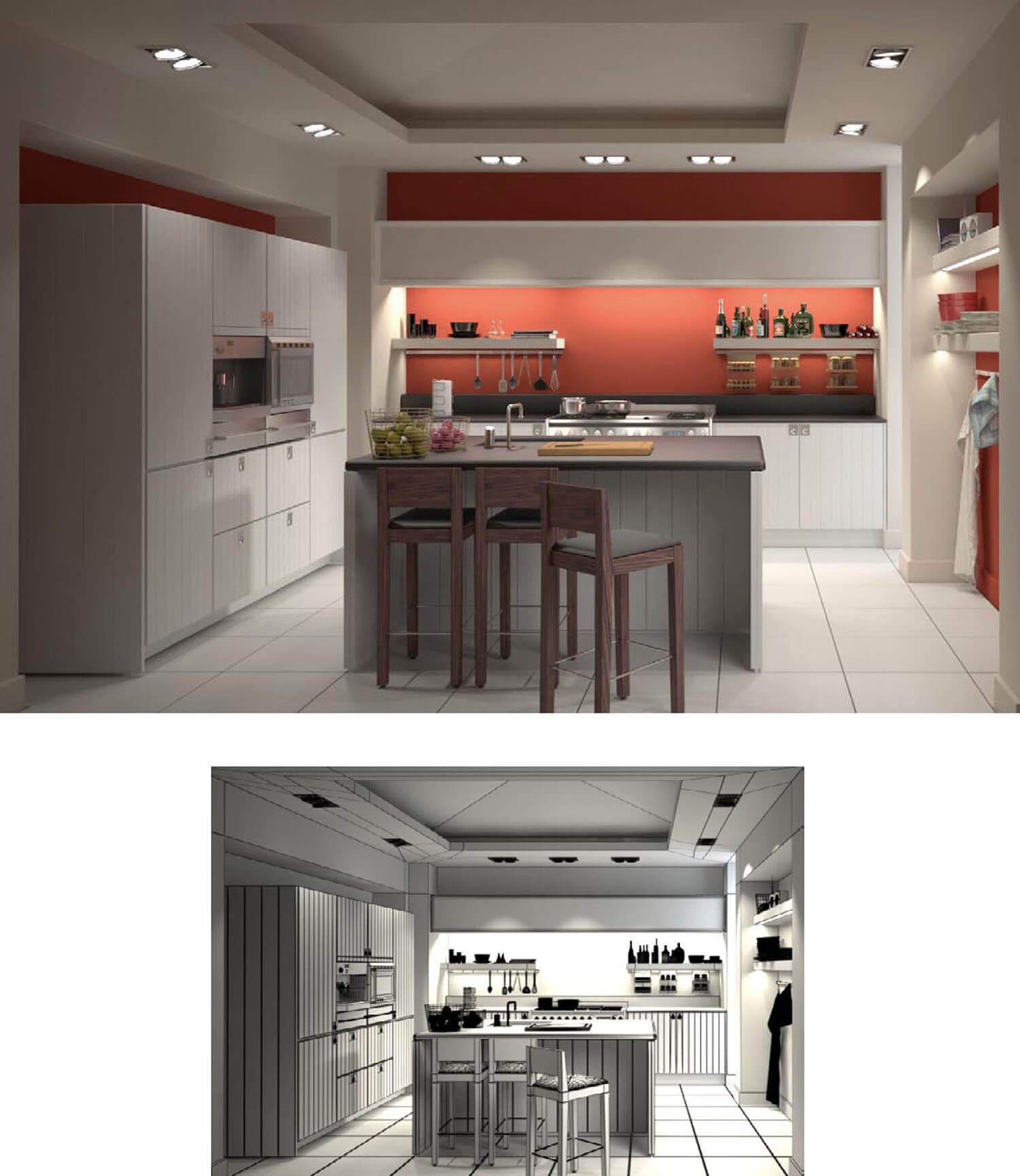 không gian phòng bếp sang trọng sử dụng hệ thống tủ bếp hiện đại