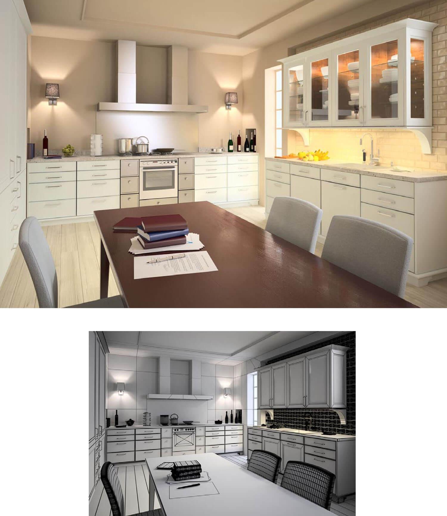 Đèn hắt được bố trí trên tủ bếp hợp lý đem lại ánh sáng ấm cúng