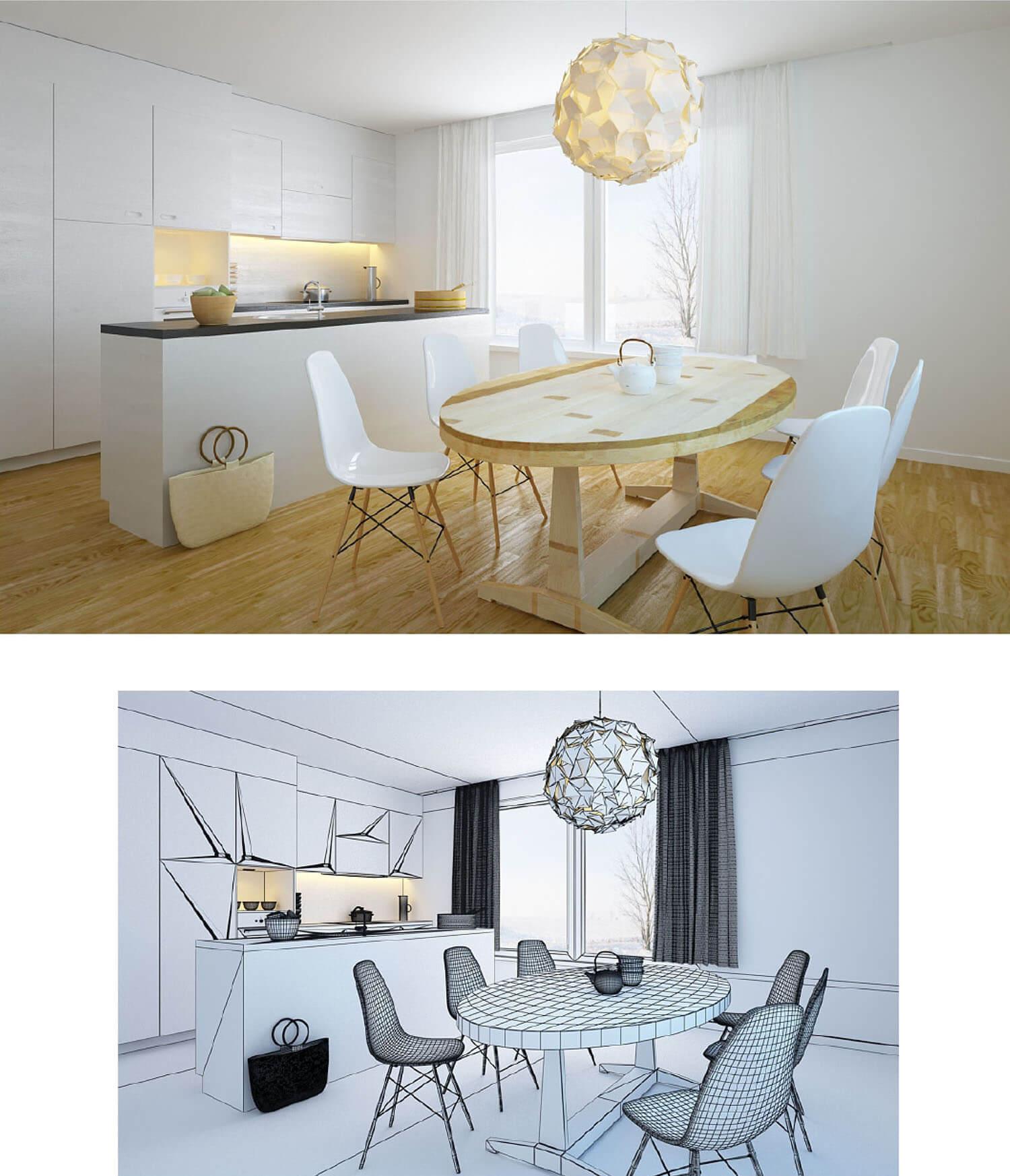 Không gian phòng bếp màu trắng độc đáo với đèn trần nghệ thuật