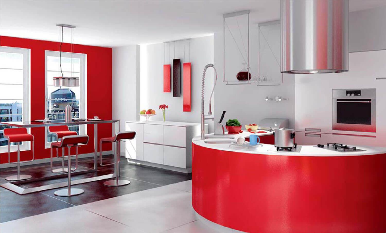 Không gian nội thất phòng bếp sơn đỏ