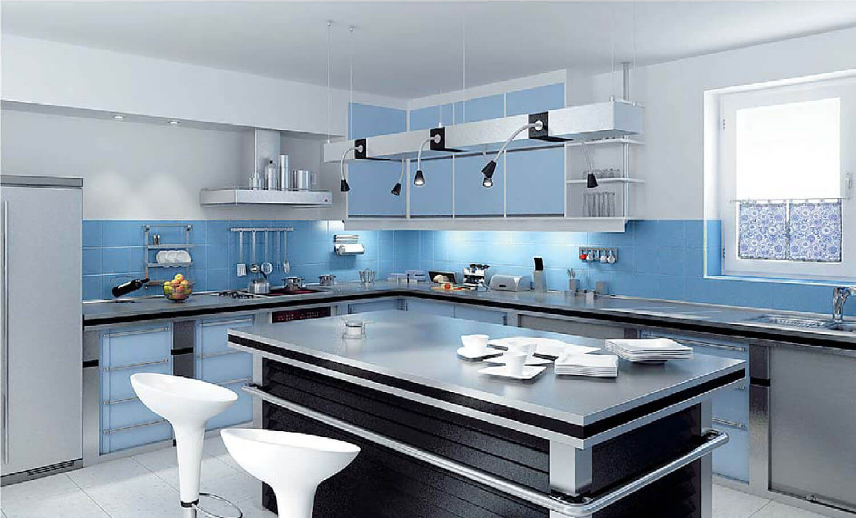 Phòng bếp đẹp sử dụng màu xanh và trắng