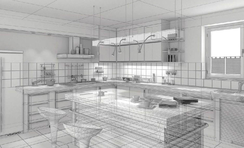 Phòng bếp đẹp sử dụng màu xanh và trắng 3D