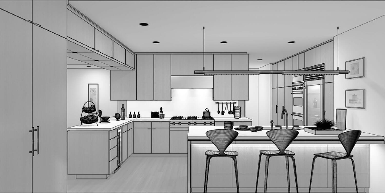 Bản vẽ phối cảnh 3D Nội thất phòng bếp chuyên nghiệp với bộ tủ bếp