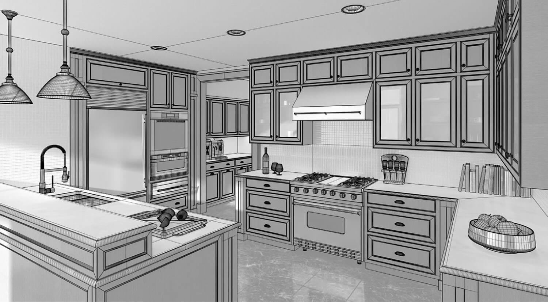Bản vẽ phối cảnh 3D Phòng bếp có diện tích rộng