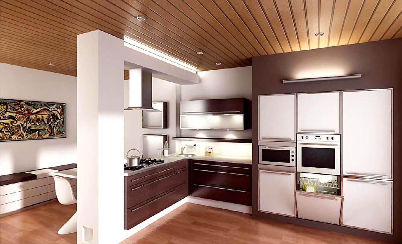 Phòng bếp đẹp kết hợp với phòng ăn bằng trụ thạch cao và kệ tủ gỗ