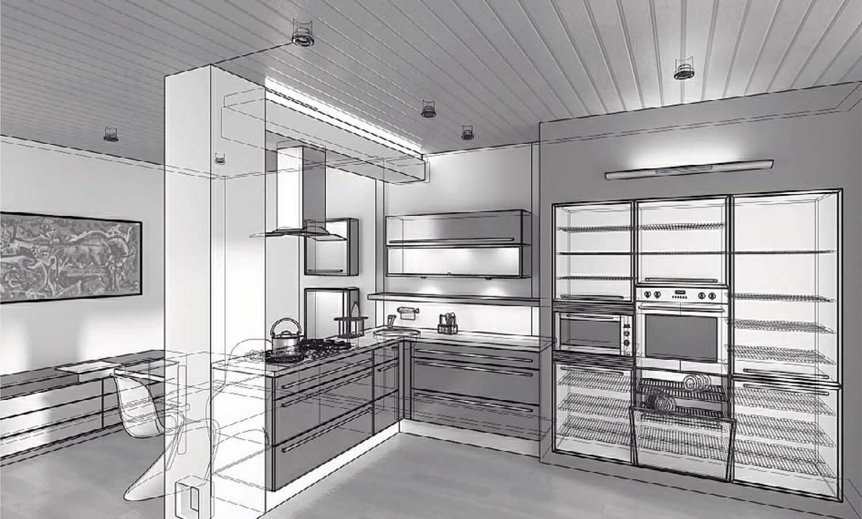 Bản vẽ phối cảnh 3D Phòng bếp đẹp kết hợp với phòng ăn bằng trụ thạch cao và kệ tủ gỗ