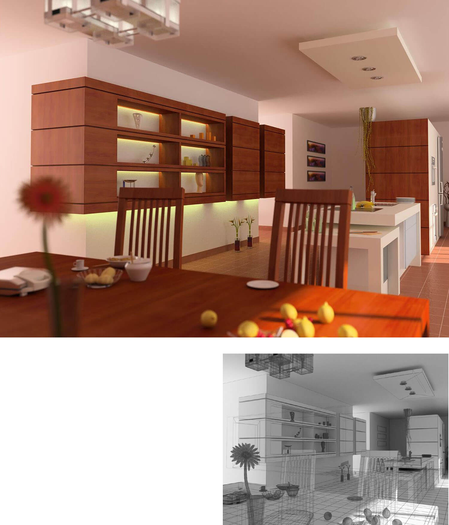Trang trí đẹp mắt với nội thất tủ bếp dạng hộp treo tường