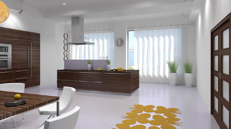Cửa kính lớn đón ánh sáng tự nhiên vào phòng bếp tạo sự thông thoáng sạch sẽ