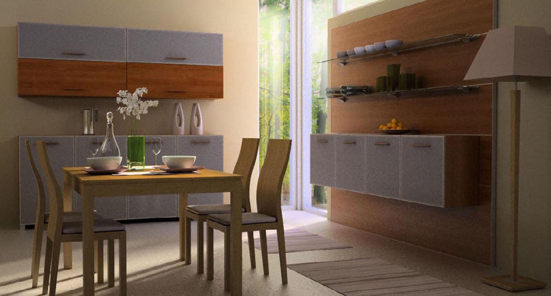 Phòng bếp đẹp với ánh sáng chan hòa được đón nhận từ 2 tấm kính ở phần góc bếp