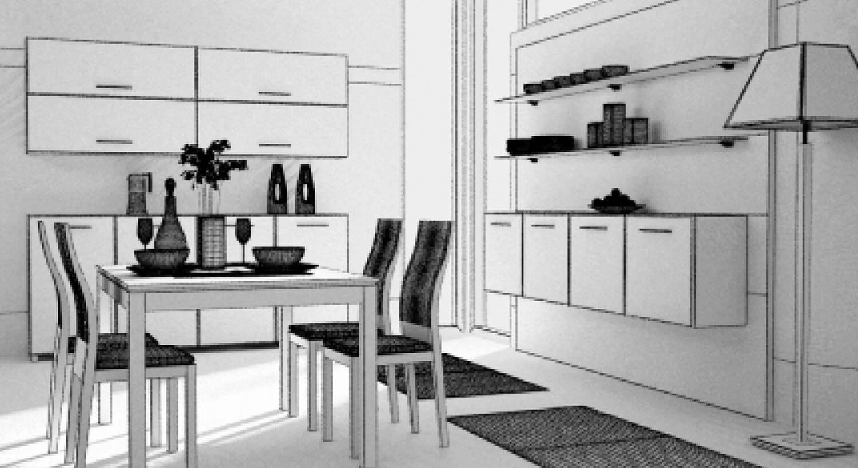 Bản vẽ phối cảnh 3D Phòng bếp đẹp với ánh sáng chan hòa được đón nhận từ 2 tấm kính ở phần góc bếp