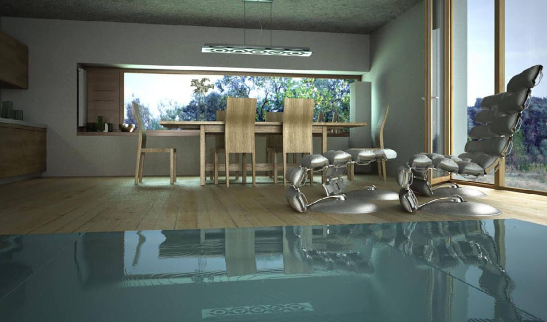 Nội thất phòng bếp đặt cạnh bể bơi với cửa kính lớn hình chữ nhật lại một bức tranh thiên nhiên mát mẻ