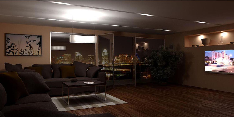 Phòng khách được thiết kế hiện đại với cửa kính