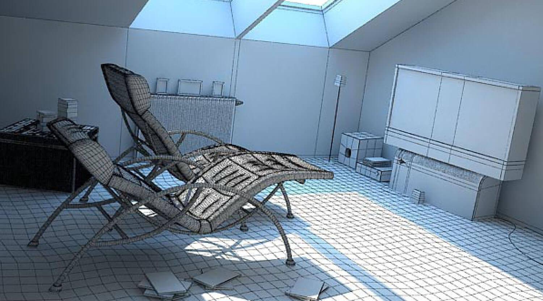 bản vẽ 3D Không gian giải trí gác xép hay tầng áp mái