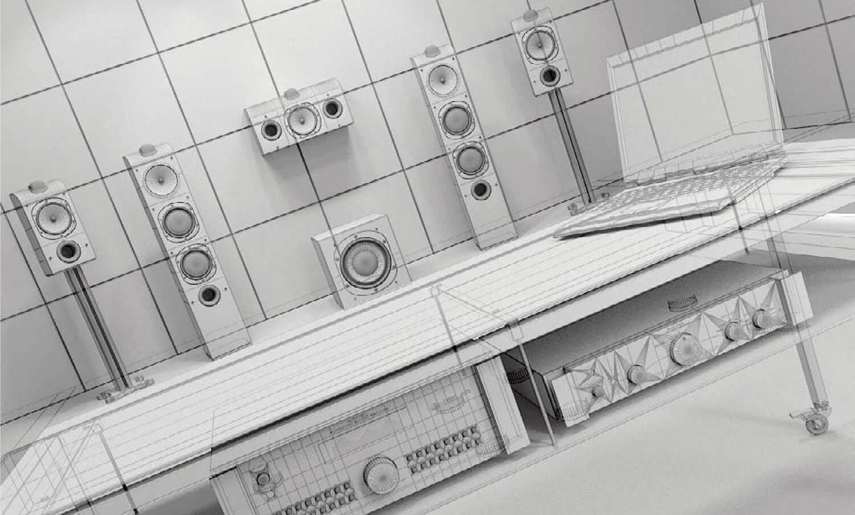 bản vẽ 3D Hệ thống âm ly hiện đại kết hợp cùng dàn loa khủng