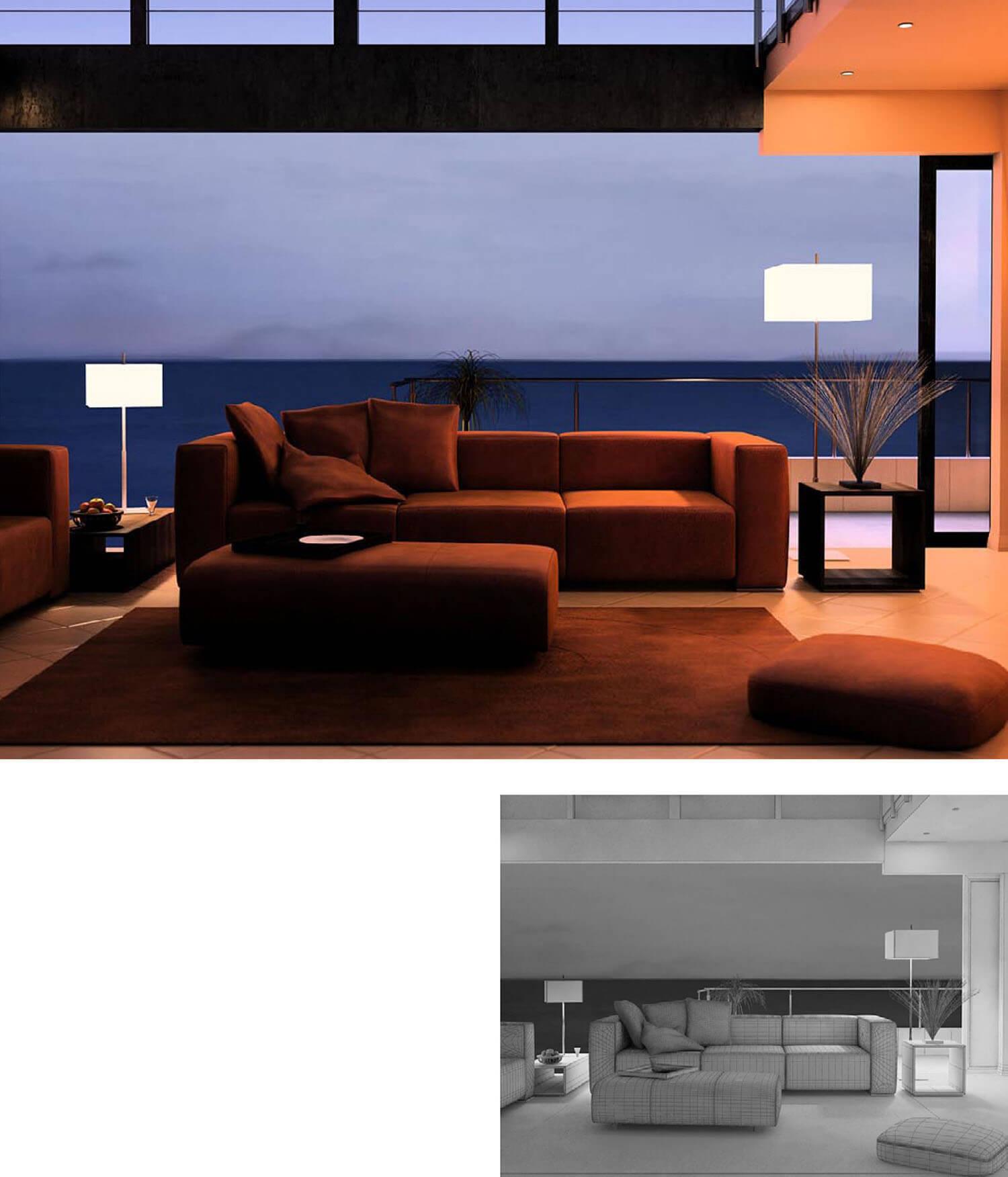 Không gian phòng khách với vách kính lớn mở ra ban công
